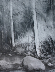 Lane-Hall-Along-the-Creek-24x18-graphite-and-gesso-on-board-2150-Contact-for-Purchase