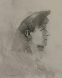 Lane-Hall-Annie-Oakley-11x14-graphite-on-board-1200-Contact-for-Purchase
