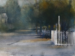 Lane Hall, Approaching Evening, Watercolor (Sold)