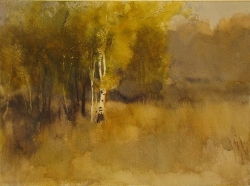 Lane Hall, Autumn Evening, Watercolor (Sold)