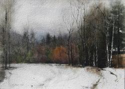 Lane Hall, December, Watercolor (Sold)
