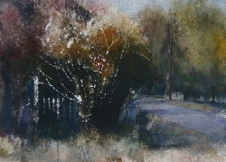 Lane Hall, Fall Early Evening, Watercolor (Sold)