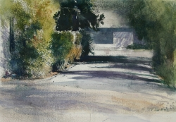 Lane Hall, Peggy's Driveway, Watercolor (Contact for Purchase)